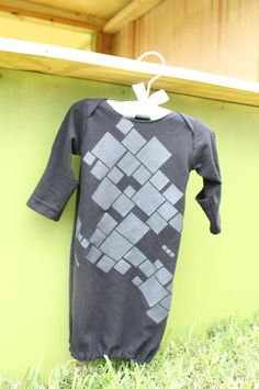 Newborn Baby Black Gray  Retro Squares Sleeper Gown. $20.00, via Etsy. https://www.facebook.com/LittleSewingShop?ref=hl