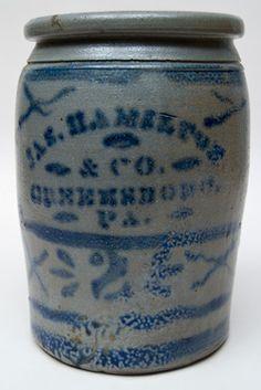 "James Hamilton & Co., Greensboro, PA, two gallon jar, circa 1870-1880, H 12"""