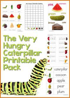 animals, caterpillar printabl, early learning, book, printabl pack, free preschool printable, hungry caterpillar, hungri caterpillar, parti
