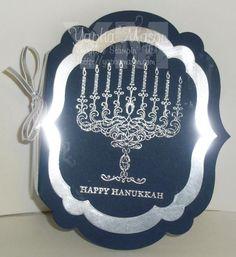 Silver and Navy Hanukkah Card