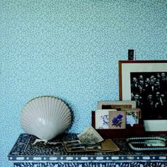 Farrow & Ball's parsley-like Samphire-print wallpaper repeats on a small scale against a refreshing sea-blue background. | Photo: Courtesy of Farrow & Ball | thisoldhouse.com ball, placid blue, color