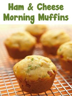 Ham and Cheese Morning Muffins Recipe ~   #muffins #perfect for breakfast #Ham & Cheese