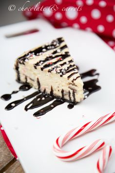 Peppermint Chocolate Bark Cheesecake | chocolateandcarrots.com