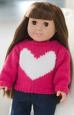 Love My Doll Sweater Free Knitting Pattern from Red Heart Yarns