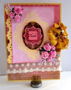 Card by Gini Williams Cagle using JustRite Stampers, Wow Embossing Powder, Pink Paislee papers, Spellbinders