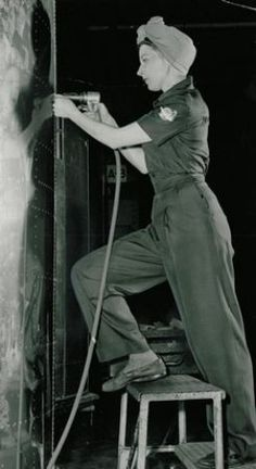 Mrs. Vivian Spear at a Boeing plant, 1943.