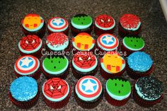 Super Hero cupcakes. More of them. Maybe I should just make hero cupcakes and skip the whole party bit.