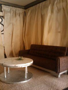 Platinum Metallic Chocolate Linen Miniature Modern Couch. $40.00, via Etsy.