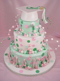 polka dots, mint green, graduation caps, graduat cake, graduation cake, shades of green, graduat idea, white graduat, school colors