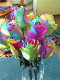 Tye Dye Flowers. I will learn how to do this!