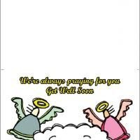 Angels Get Well Soon Card - Angels guide us and help us to be well as we live each day. Print this angel themed get well soon card then send it to your friend or relative who is sick. Simple yet elegant, this card is more than enough to wish someone of his good health.
