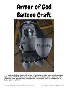 Armor of God Balloon Craft vbs, children church, idea, balloon crafts, armor, bibl school, god craft, balloons, kid