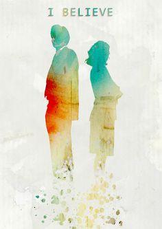 Watercolor X-Files Poster