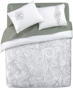 grey vines bed linens in duvet covers   CB2