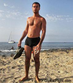 wet hunks beach swimmers