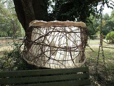 Grape vines and metal wire lamp shade burlap by AdaptationsStudio, $200.00