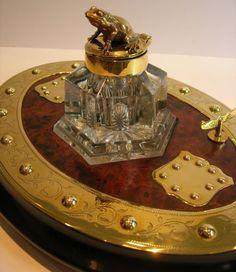 Antique English Burl Walnut Inkstand / Figural Inkwell - Brass Frog c.1880