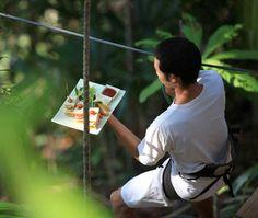 Tree Dining (the waiter) at Bird's Nest Restaurant in  Soneva Kiri Eco Resort in Thailand
