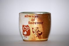 Mug  wheel thrown handelless cup with owls  in mint by claylicious, $25.00