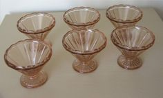 Six Pink Glass Sundae Dishes