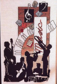Jazz Music Music On Cross Stitch  Completed by XStitchedMessage,