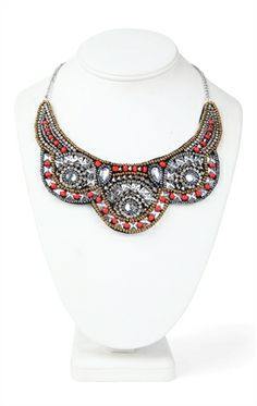 Short Statement Necklace with Multicolored Tribal Bead Design
