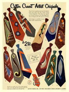 "1940s Mens ties designed by artists . Tie history at <a href=""http://VintageDancer.com"" rel=""nofollow"" target=""_blank"">VintageDancer.com</a>"