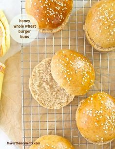 Honey Whole Wheat Burger Buns | flavorthemoments.com