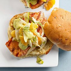 Turn on the grill! You will love these Grilled Fish Sandwiches with Avocado Spread. More recipes:http://www.bhg.com/recipes/from-better-homes-and-gardens/august-2013-recipes/?socsrc=bhgpin071013grilledfish=10
