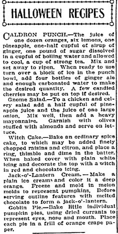 """Halloween recipes published in the Idaho Statesman newspaper (Boise, Idaho), 20 October 1912. Read more on the GenealogyBank blog: """"Old Halloween Recipes from Our Ancestors' Kitchens."""" http://blog.genealogybank.com/old-halloween-recipes-from-our-ancestors-kitchens.html"""
