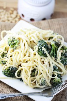 Linguine with Roasted Broccoli, Pine Nuts and Goat Cheese