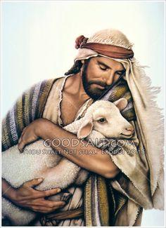 Jesus holding lamb.