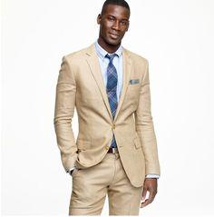 Cream and blue suit