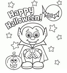 Little Vampire Halloween Coloring Page