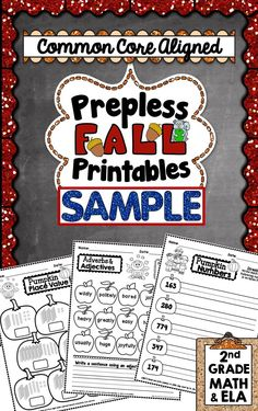**FREEBIE** Here is a 3 PAGE SAMPLE from my Fall Prepless Printables Pack for 2nd Grade. #commoncore #teacherspayteachers