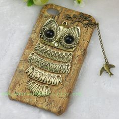 Owl Iphone 5 case, Iphone Case, Iphone 5 cases, Vintage style owl with Brass Branch Hard Case Cover on Etsy, $9.99