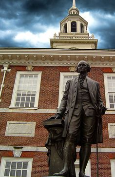 Statue of George Washington outside of Independence Hall, Philadelphia  by Dave Hanvey - Is it normal for a Canadian like me to have a whole bucket list of American Revolution sites?  Because I do.