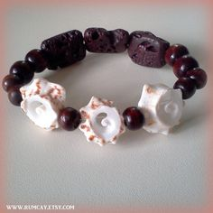 """10 % off with coupon code """"facebook""""  Conch Shells, Lava Rocks and Brown Wood Beads bracelet  by Rum Cay Island Jewelry"""