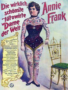 Annie Frank Tattooed Woman Circus Vintage Sideshow Carnival Posters Art Prints Tattoo Women, Tattoo Lady, Vintage Carnivals, Annie Frank, Halloween Costumes, Vintage Circuses, Frank Tattoo, Vintage Sideshow, Vintage Tattoo