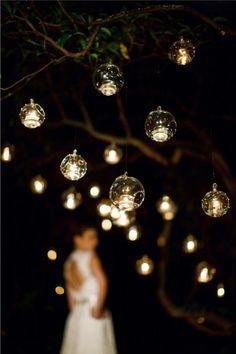 hanging lights, ball, tree, candle holders, glass, modern weddings, christmas ornaments, bubbl, tea lights