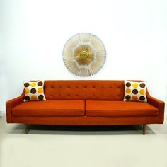 Orange Sofa Mid Century Modern Free Shipping by TheModernHistoric, $1800.00