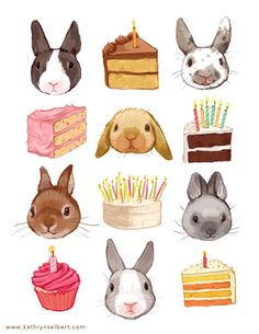Cute bunny and birthday cake illustrated print
