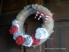 Patriotic wreath! decor crafts, colors, craft idea, cottages, wreath, diy home, americana door, country, banners