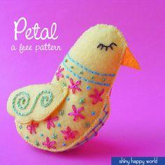Petal - a free felt bird pattern from Shiny Happy World