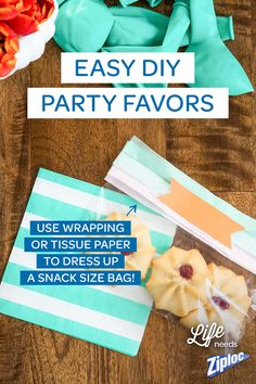 Cute party favor idea! Just fold a piece of wrapping paper or tissue paper over a Ziploc® snack size bag. Then staple beneath the closure. Great for wedding favors or bridal showers!