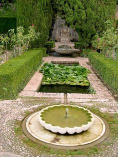 The Generalife Gardens of the Summer Palace of the 13th century Alhambra Palace in Granada