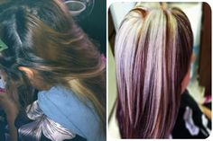 Platinum blonde highlights with mocha and violet red hair color