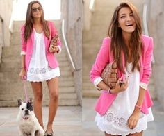 I love the pink with white summer dress!