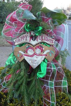 Christmas Mailbox Decoration - nostalgic Happy Holidays Wooden Heart with Red & Green Plaid Deco Mesh, Bright Green Ribbon and Evergreens.