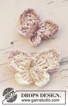 Crochet DROPS butterfly....free pattern libraries, butterfli, crochet projects, knitting patterns, design patterns, drop design, cotton viscos, appliqu, crochet patterns